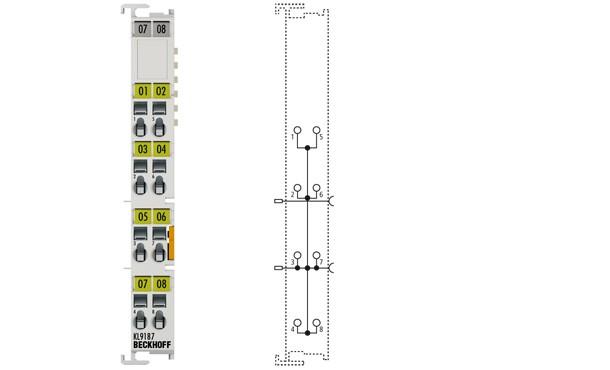 BECKHOFF KL9187 Potential Distribution Terminal, 8 x 0 V DC