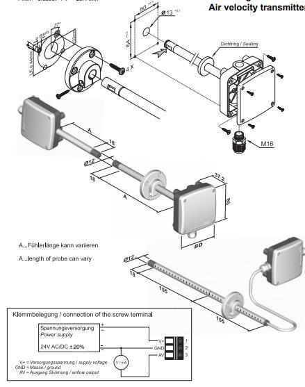 Greisinger GSMU1020 Air Velocity Transmitter