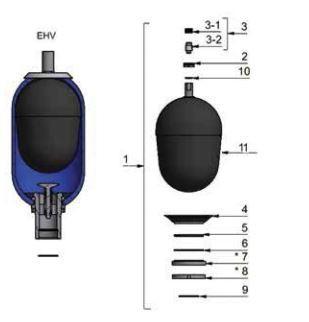 Olaer EHV 4-350/90-350-AA25-12-002 REF. 108661-01125 Bladder